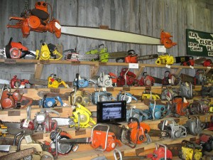 This wall of chainsaws would look great in my kill room.